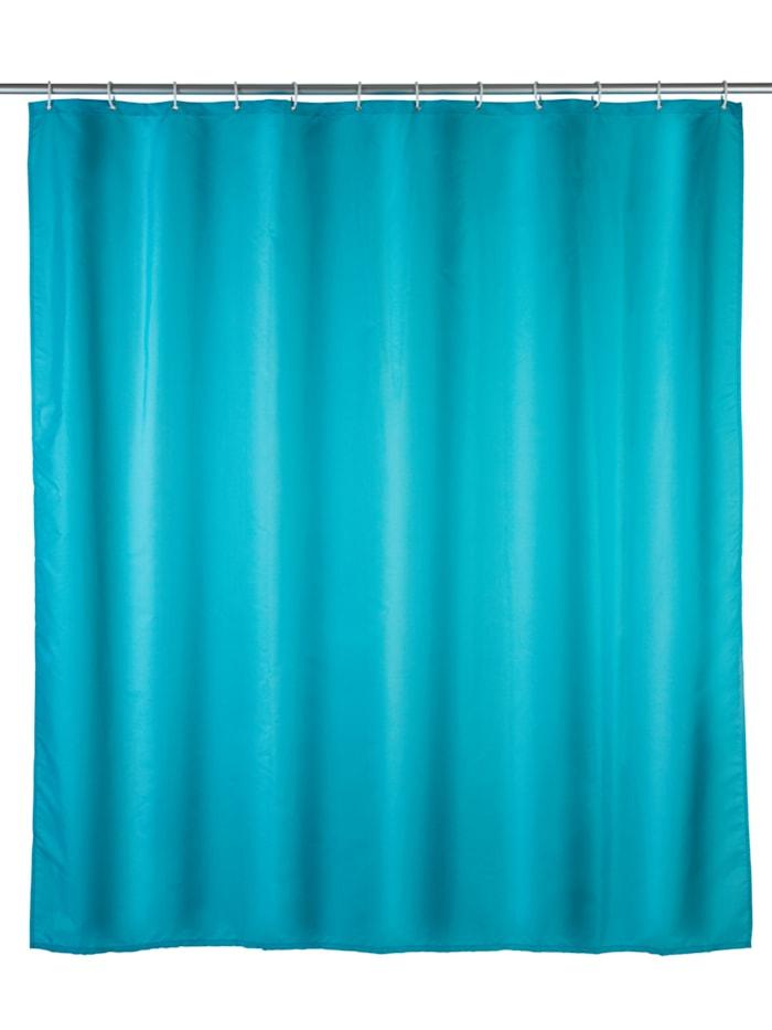 Wenko Anti-Schimmel Duschvorhang Uni Light Blue, Textil (Polyester), 180 x 200 cm, waschbar, Blau - Hellblau