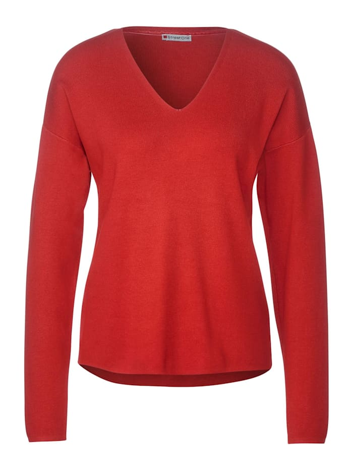 Street One Softer Pullover in Unifarbe, blazing red