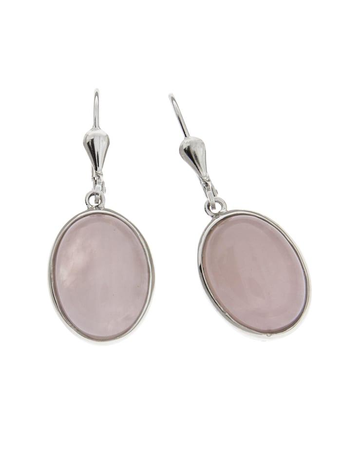 ZEEme Ohrhänger 925/- Sterling Silber Rosenquarz rosa 3,6cm Glänzend 9,8ct., weiß