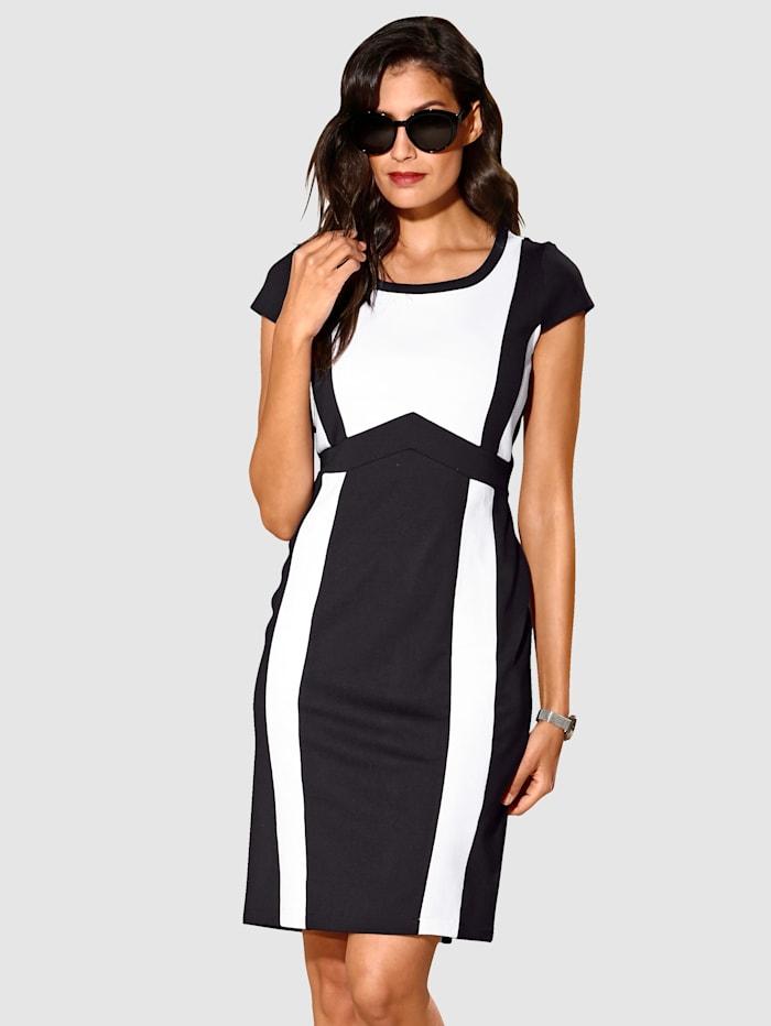 AMY VERMONT Kleid in Punto di Roma-Qualität, Schwarz/Weiß