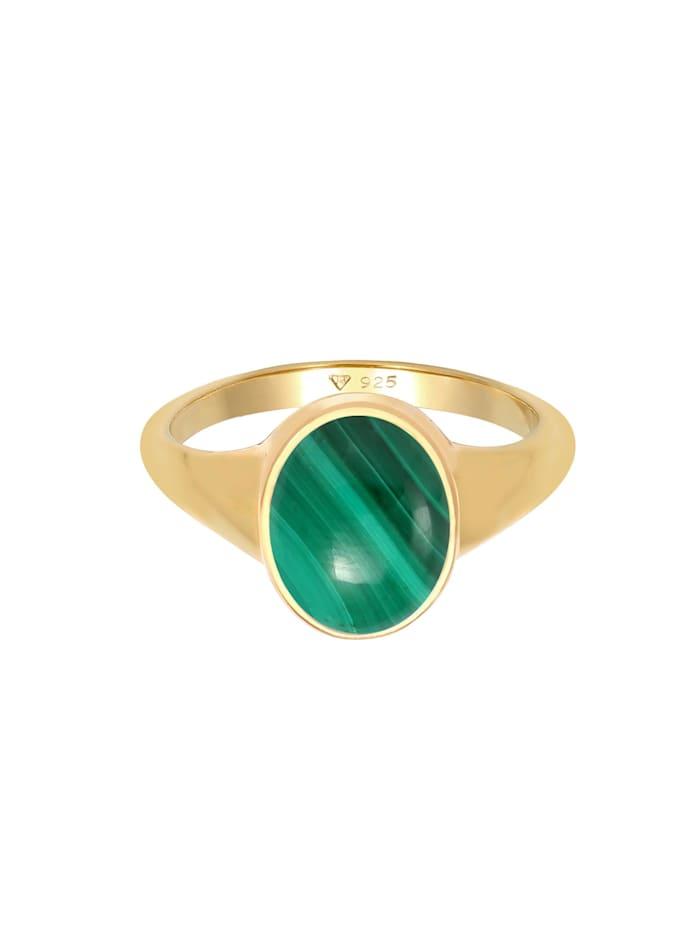 Ring Siegelring Oval Malachit Grün Klassik 925 Silber