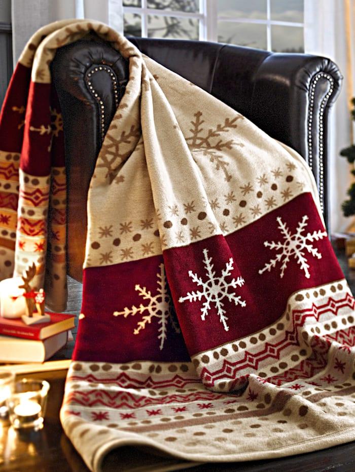 Webschatz Pledd med julemønster, rød/krem