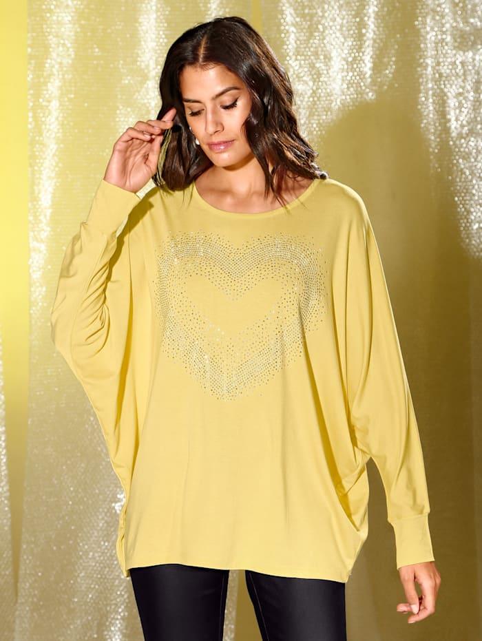 AMY VERMONT Shirt mit Dekosteinchen, Gelb
