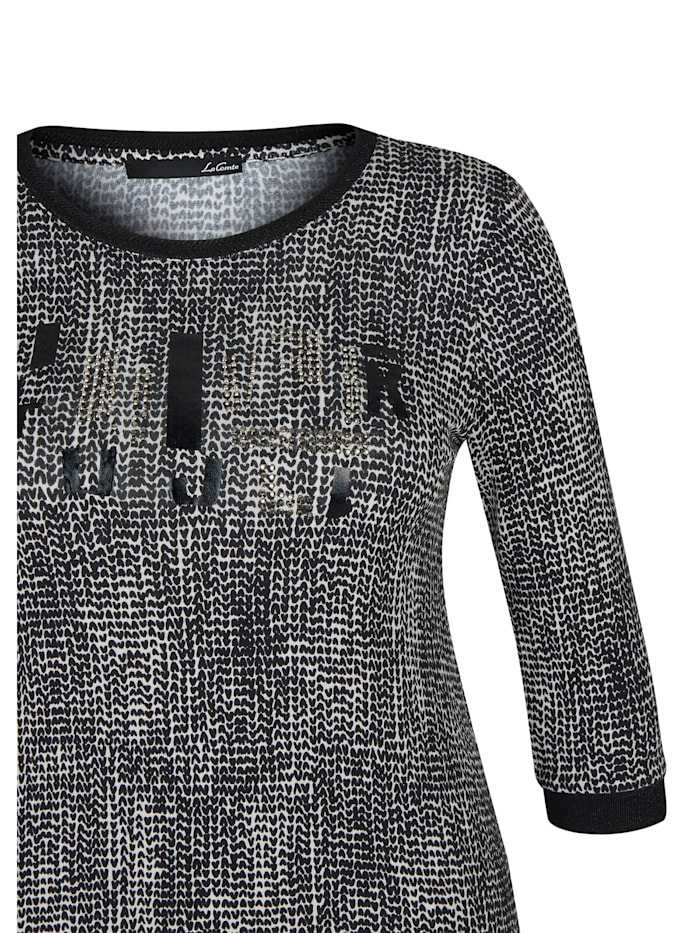 Shirt mit Glitzersteinen und abstraktem Muster
