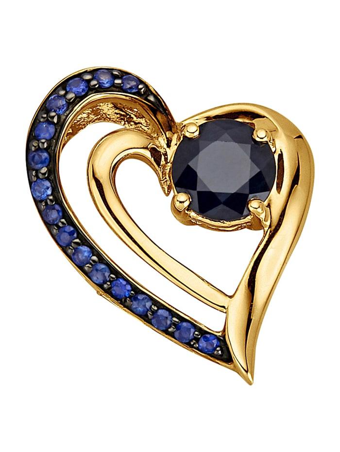 Diemer Farbstein Herz-Anhänger, Blau