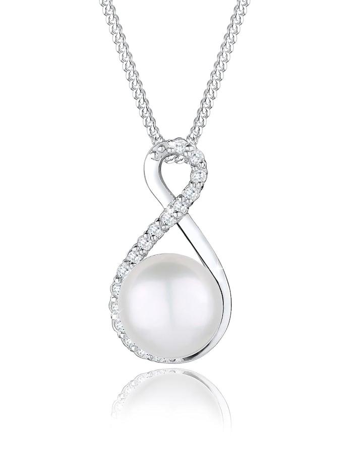 Elli Premium Halskette Infinity Süßwasserzuchtperle 925 Silber, Weiß