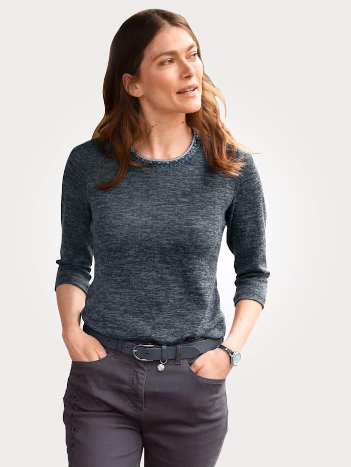 MONA Shirt in Feinstrick-Optik, Blau