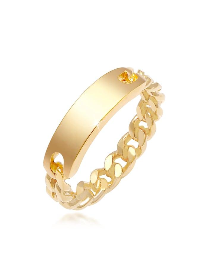 Elli Ring Bandring Platte Panzer Kette 925 Silber, Gold