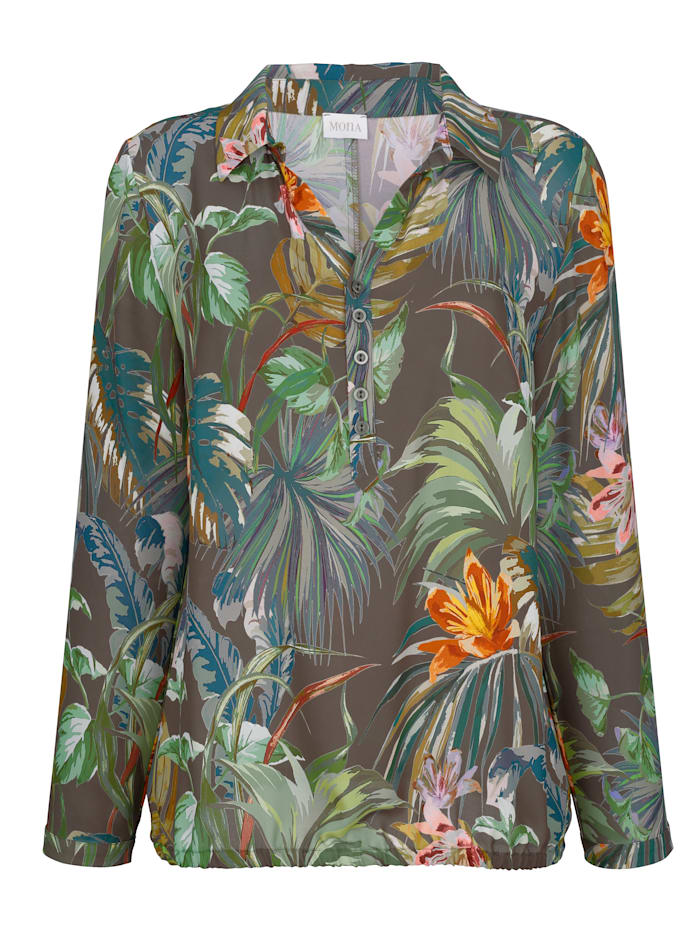 Pull-on blouse with a floral print