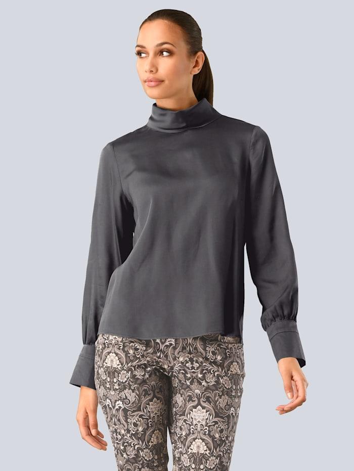 Alba Moda Bluse mit dekorativen Knöpfen, Grau