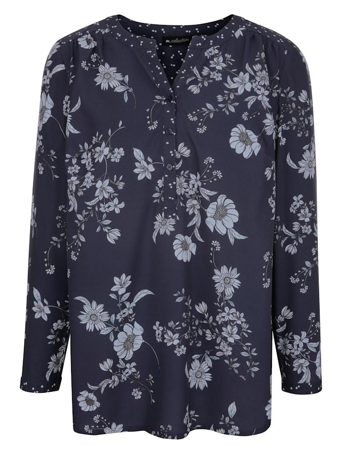 Bluse in floralem und gepunkteten Mustermix