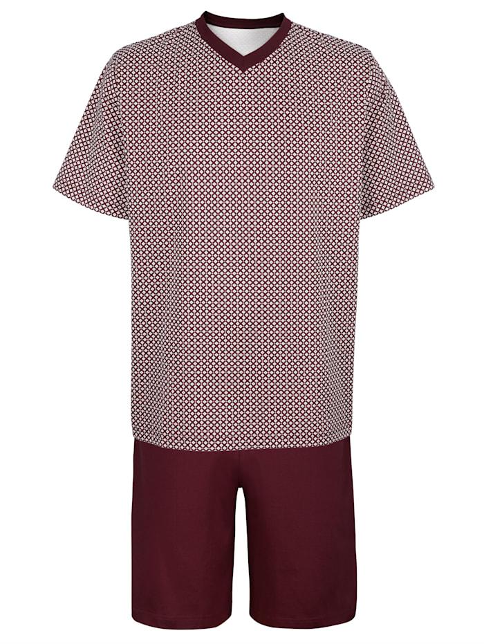 BABISTA Pyjashort en coton mercerisé, Bordeaux/Blanc