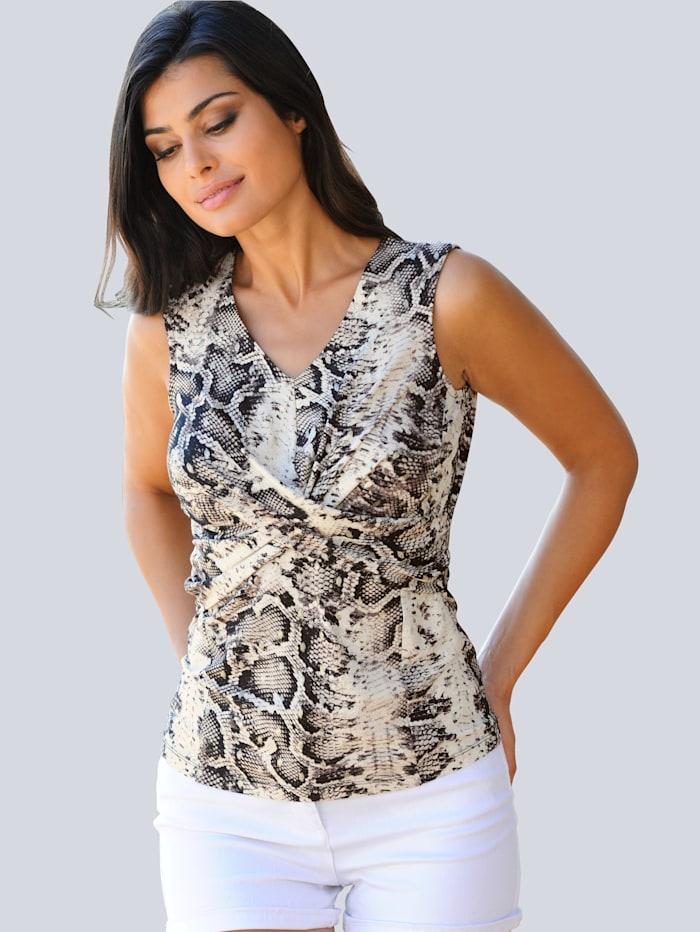 Alba Moda Strandshirt mit Glanzoptik, Beige