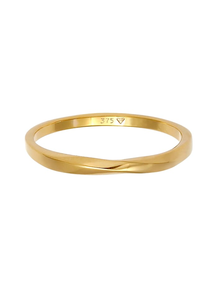 Ring Basic Bandring Twist Gedreht Trend 375 Gelbgold