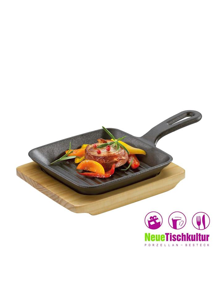 Grill-/ Servierpfanne mit Holzbrett