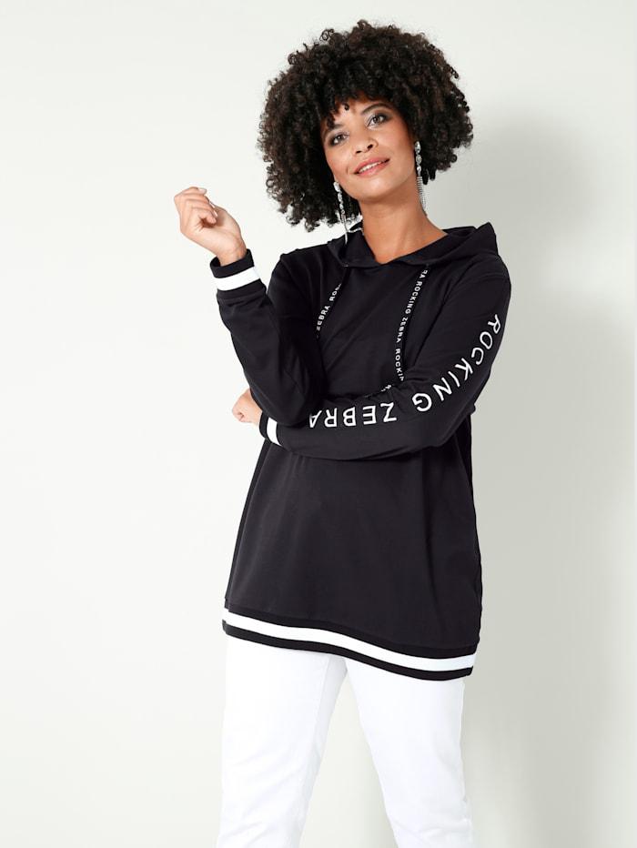 Angel of Style Sweatshirt met opschrift op de mouwen, Zwart/Wit