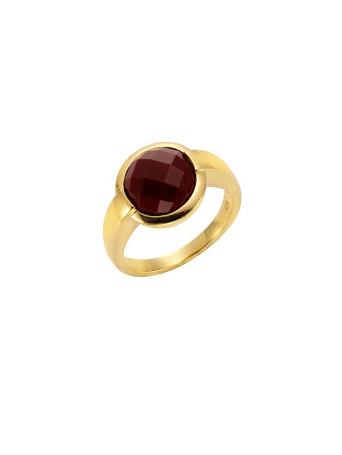 Jamelli Ring 925/- Sterling Silber Achat rot Glänzend 925/- Sterling Silber, gelb