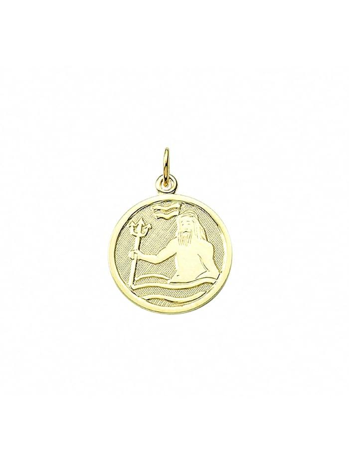 1001 Diamonds Damen & Herren Goldschmuck 333 Gold Sternzeichen Anhänger Wassermann Ø 16 mm, gold
