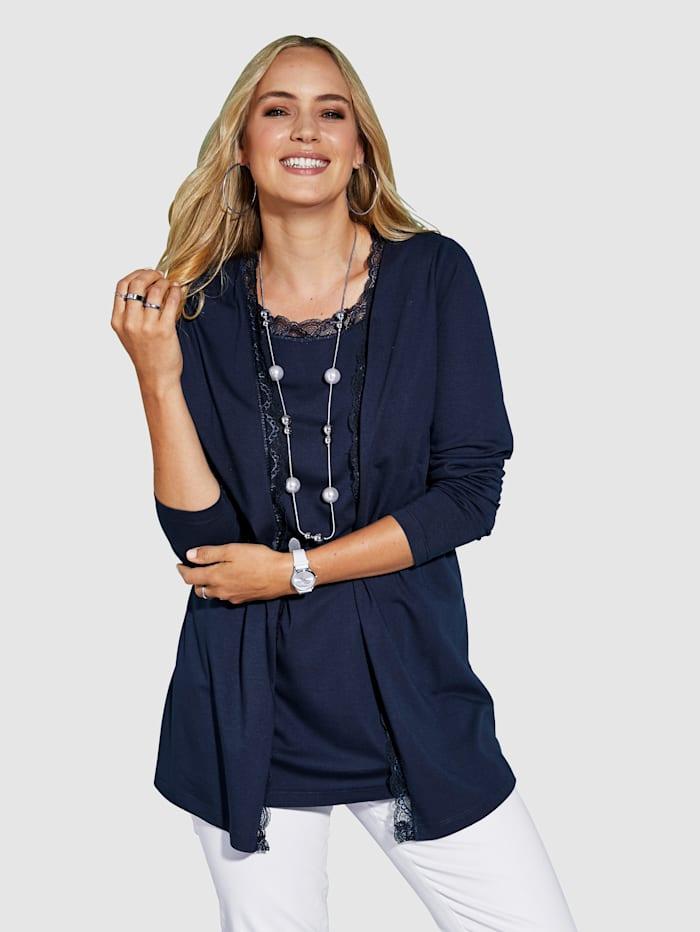 MIAMODA 2-in-1 Shirtjacke mit Spitzenabschlüssen, Marineblau