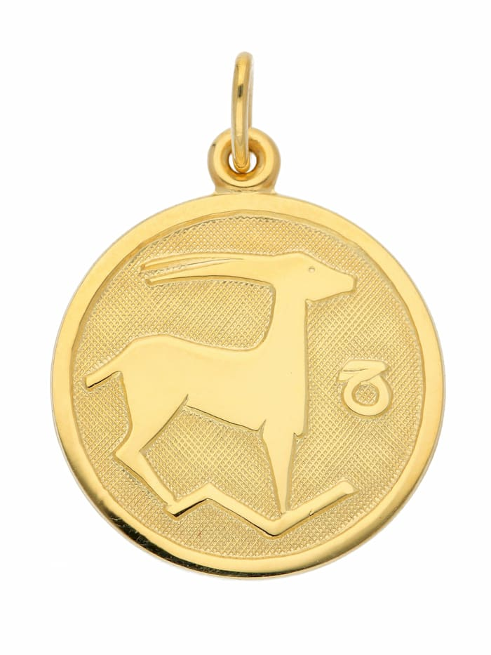 1001 Diamonds 1001 Diamonds Damen & Herren Goldschmuck 333 Gold Sternzeichen Anhänger Steinbock Ø 16 mm, gold