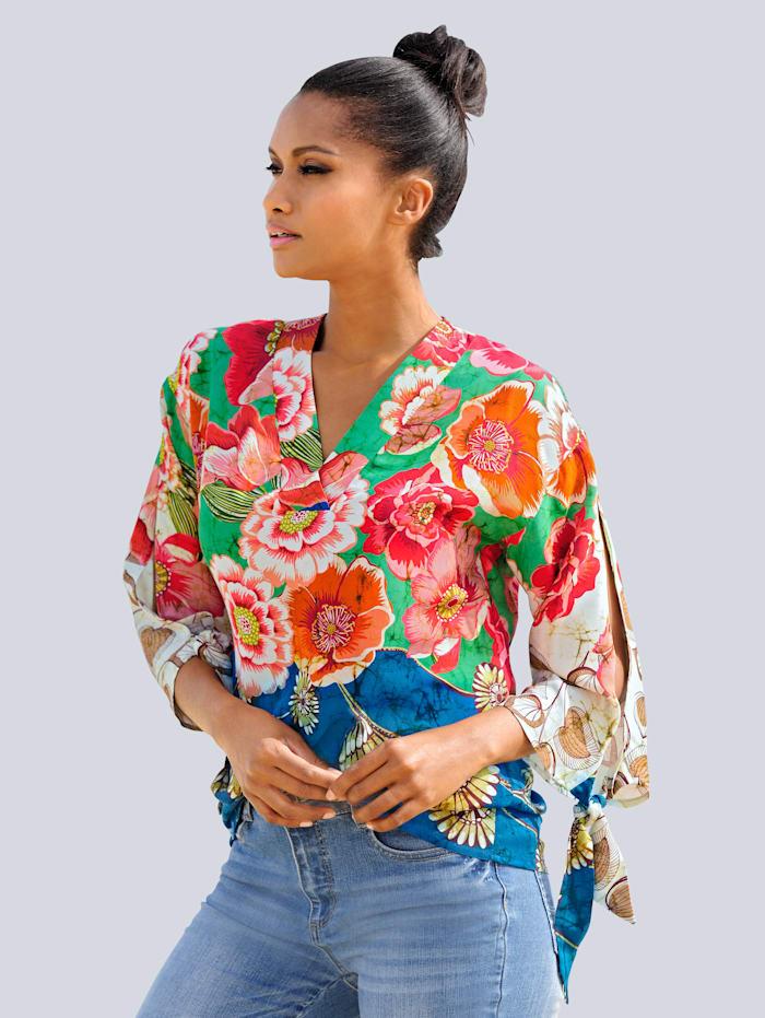 Alba Moda Tunikabluse mit Schlitzen am Arm, Multicolor