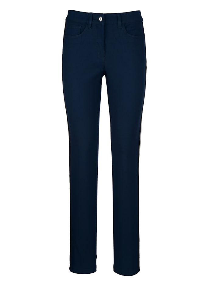 Dress In Trousers with fashionable side stripe, Navy