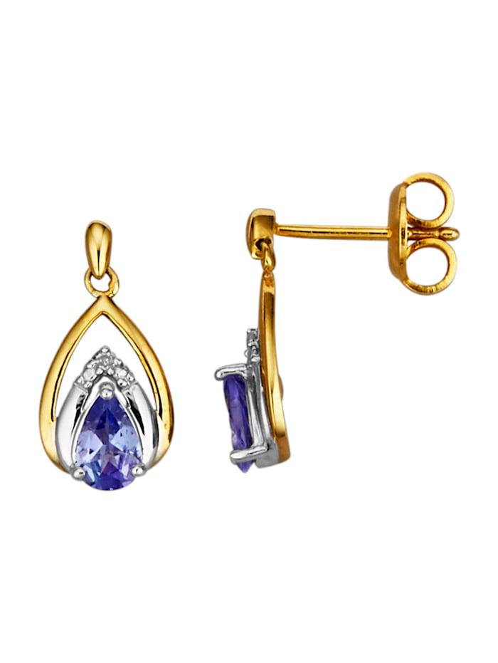 Ohrringe mit Tansaniten und Diamanten, Blau