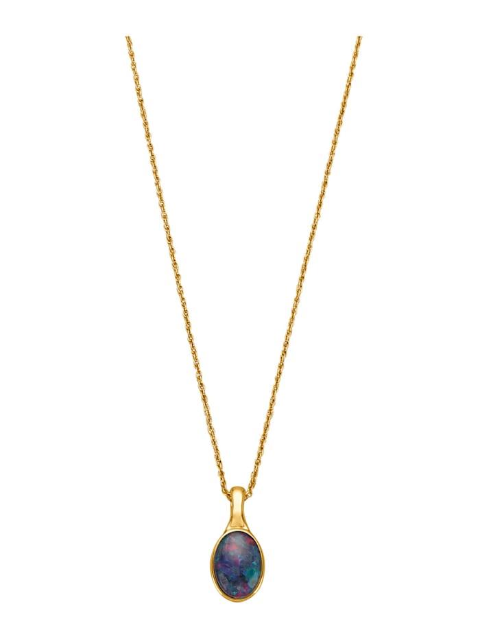 Amara Farbstein Clip-Anhänger mit Kette mit Opal-Triplette, Blau