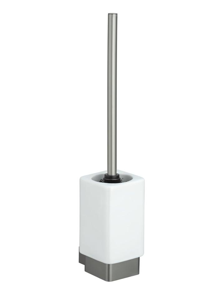Wenko WC-Garnitur Montella, Aluminium & Keramik, Wandmontage, Grau - Anthrazit, Behälter: Weiß
