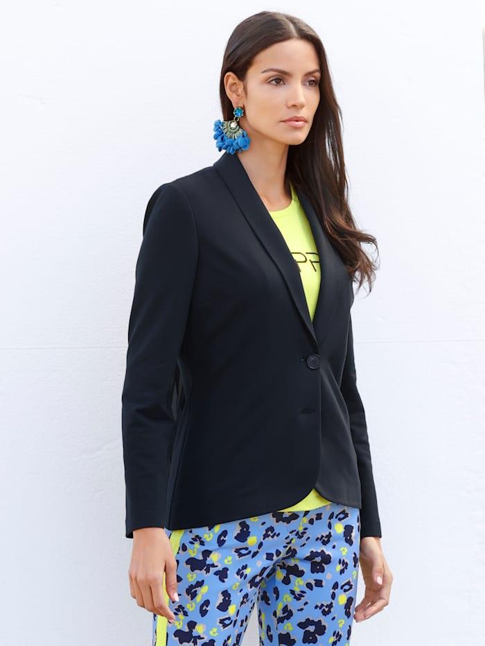 AMY VERMONT Jerseykavaj med plisserade veck i ryggen, Marinblå