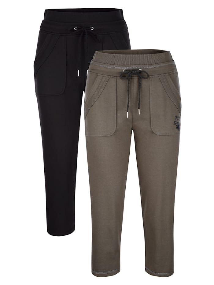 Blue Moon Pantalons de loisirs à motif d'esprit sport, Olive/Noir