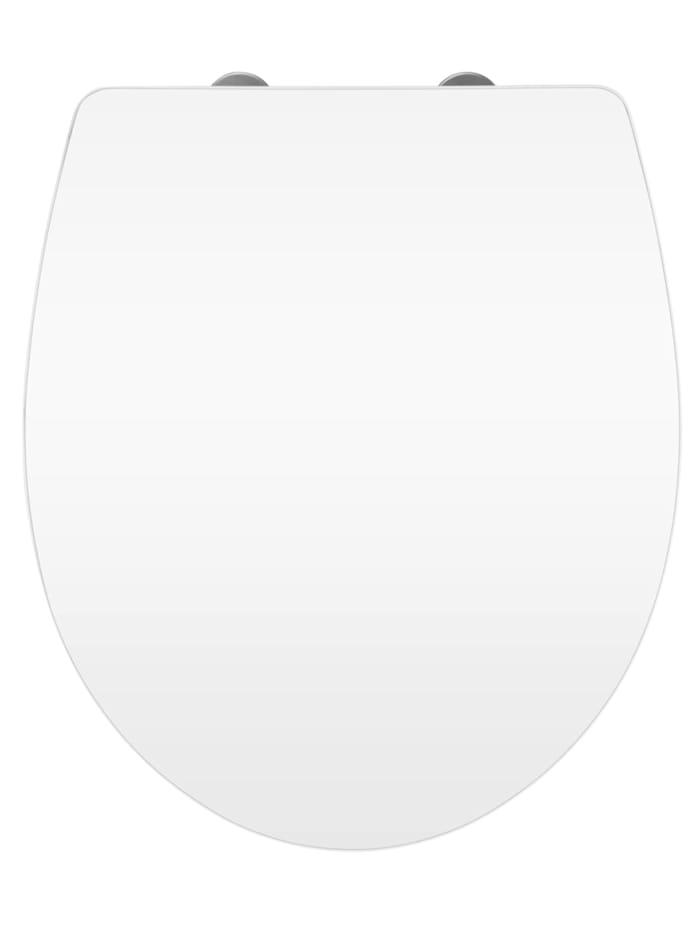 Wenko Premium WC-Sitz Hochglanz Acryl White, aus antibakteriellem Duroplast, Absenkautomatik, Fix-Clip, Sitz: Weiß, Oberfläche: Weiß, Befestigung: Silber matt