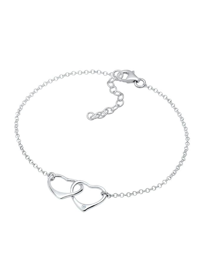 Armband Herz Anhänger Liebe Diamant (0.015 Ct.) 925 Silber