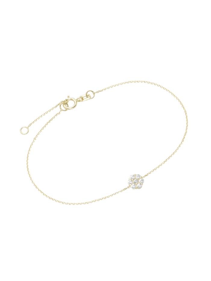 Luigi Merano Armband Mittelteil Blüte mit Zirkonia, Gold 375, Gold