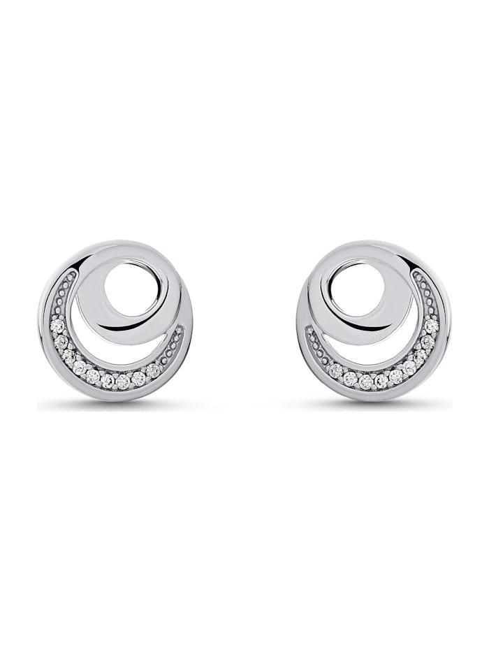 Jette JETTE Silver Damen-Ohrstecker DOT 925er Silber 18 Zirkonia, silber