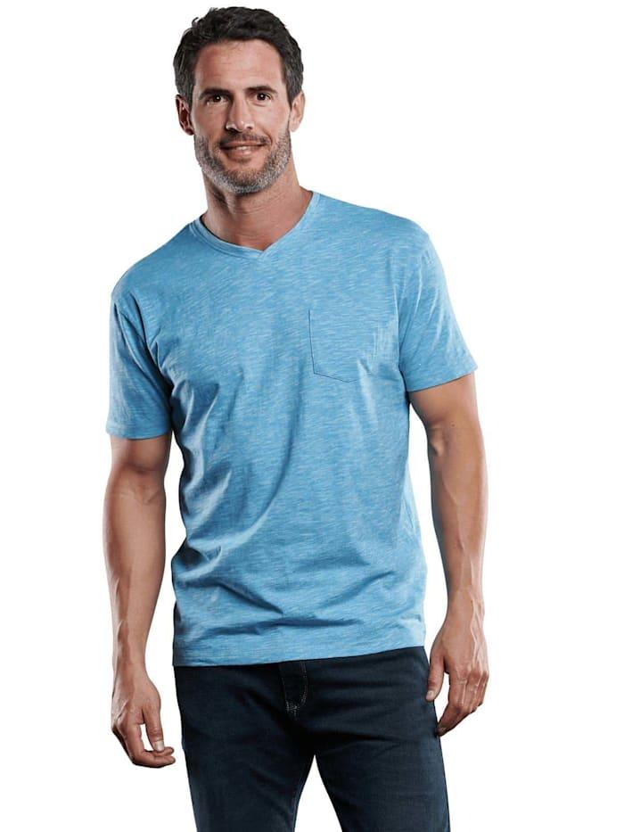 Engbers V-Neck T-Shirt, Cyanblau