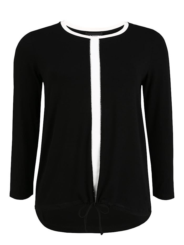 seeyou Shirt mit Rundhalsausschnitt Kontrastverarbeitung, schwarz