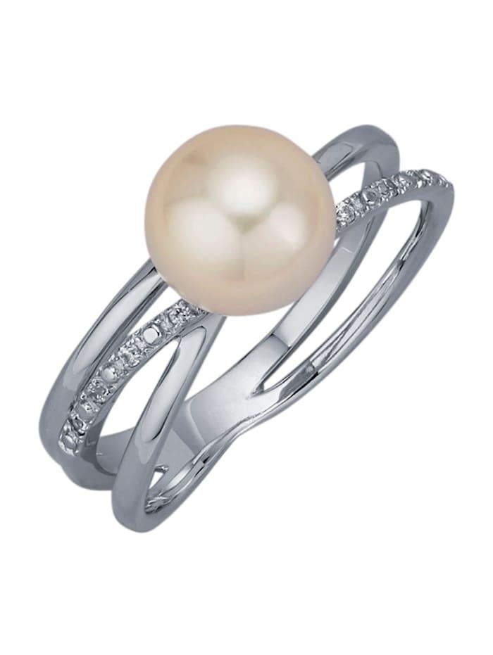 Amara Perle Damenring mit weißer Süßwasser-Zuchtperle, Weiß