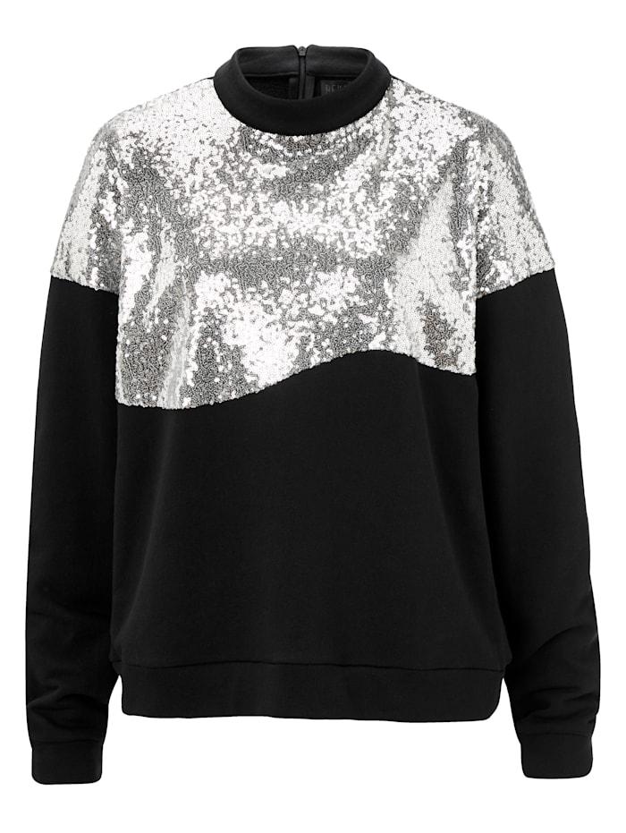 REKEN MAAR Sweatshirt mit Pailletten, Schwarz/Silberfarben