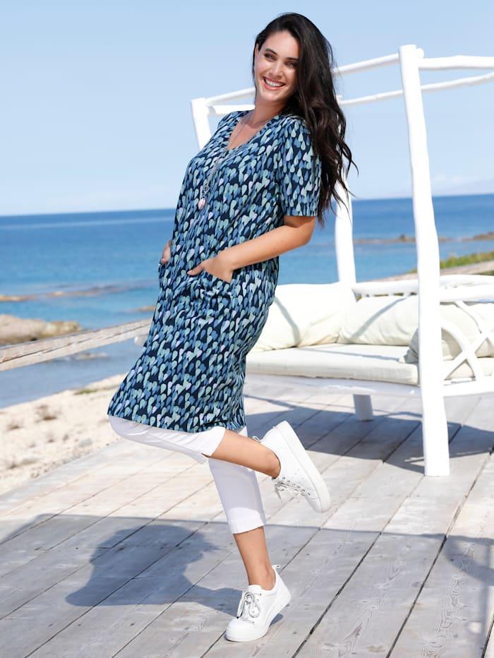 MIAMODA Kleid mit streckendem V-Ausschnitt, Blau