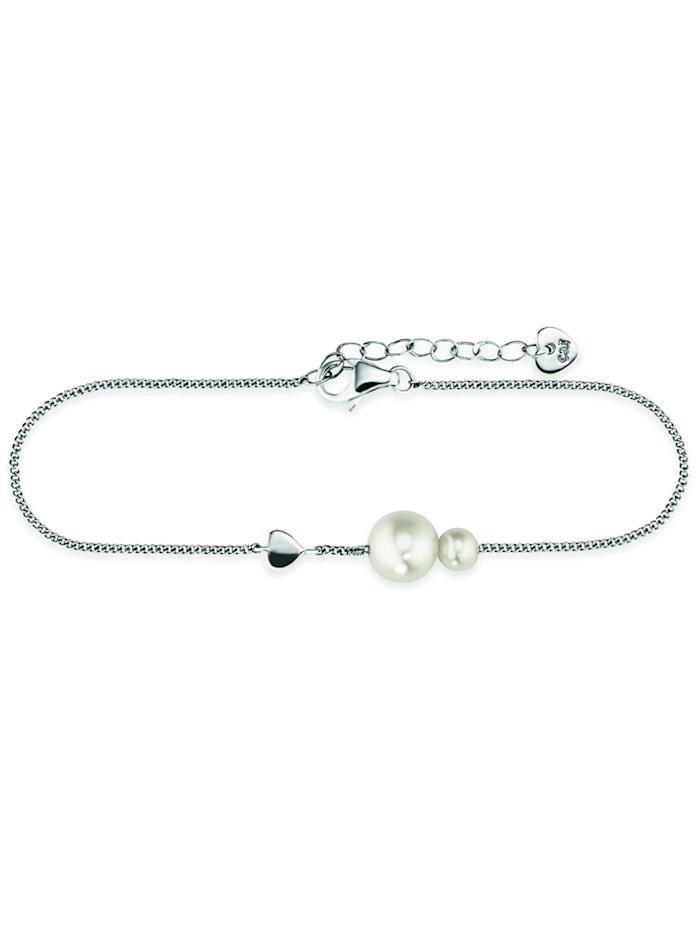 CAI Armband 925/- Sterling Silber Süßwasserzuchtperle weiß 16+3cm Glänzend, weiß