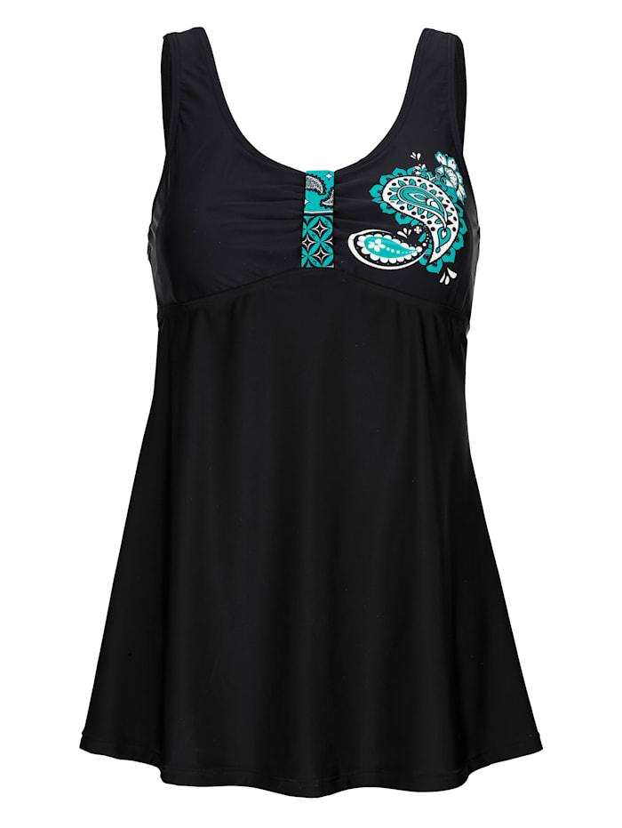 Maritim Badekleid mit kleinem Druckmotiv im Brustbereich, Schwarz