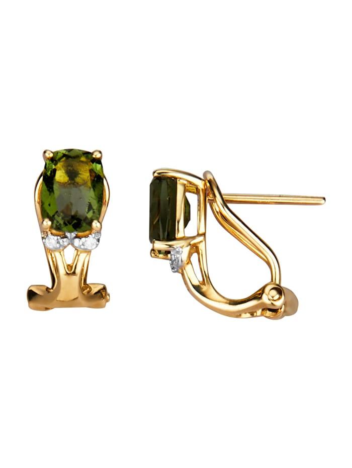 Clip-Stecker mit Moldaviten, Grün