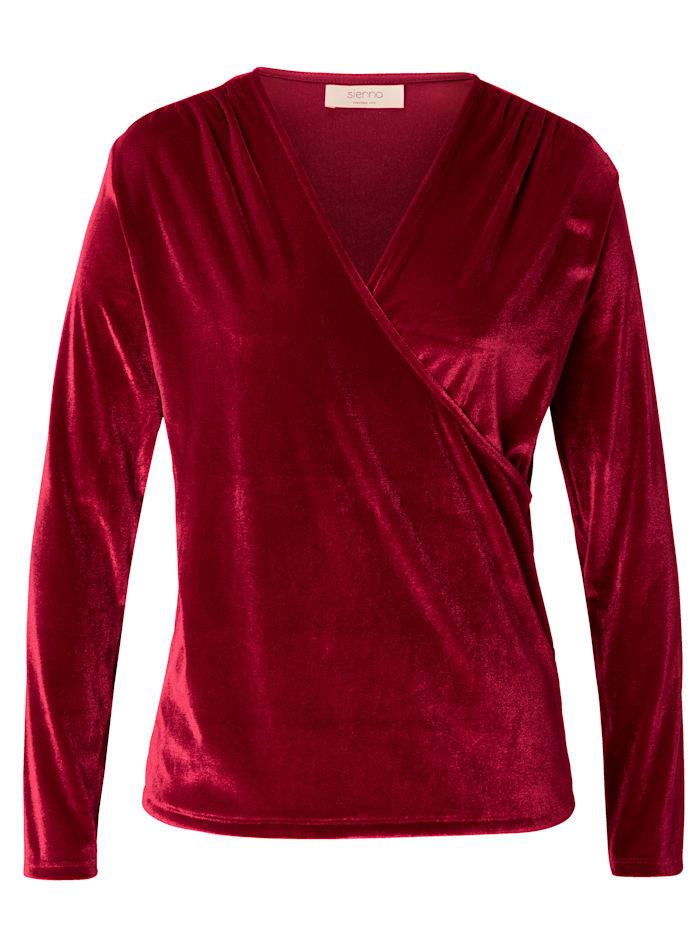 SIENNA Langarmshirt mit Wickeloptik, Rot