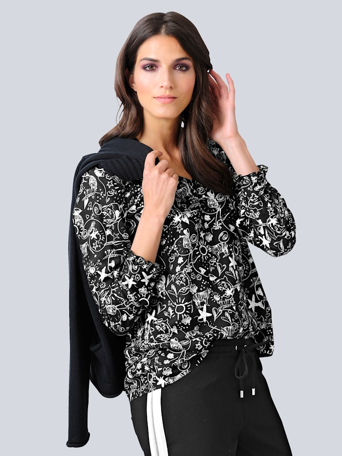 Alba Moda Blouse met moderne print, Zwart/Wit