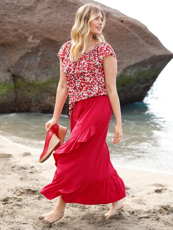 Sara Lindholm Shirt mit grafischem Minimaldessin, Rot/Off-white
