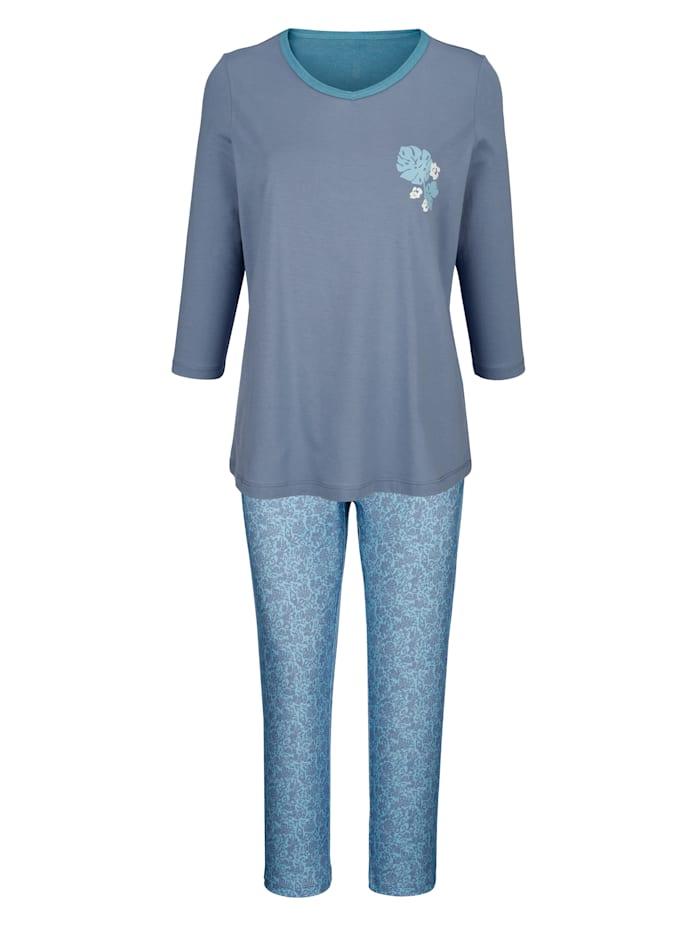 Blue Moon Pyjama met fraaie contrastkleurige paspels aan de hals, Rookblauw/Jadegroen