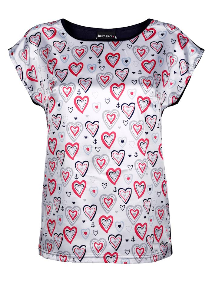 Shirt mit Herzdruck in Satinqualität
