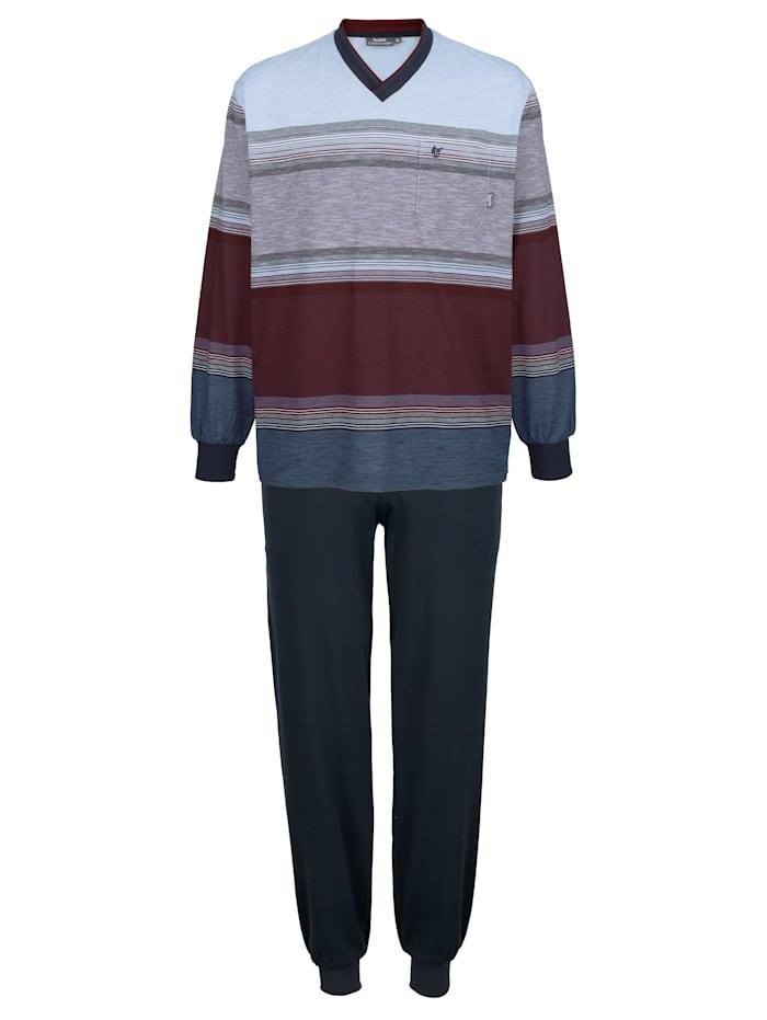 Hajo Pyjama met klimaatvezels, Blauw/Aubergine