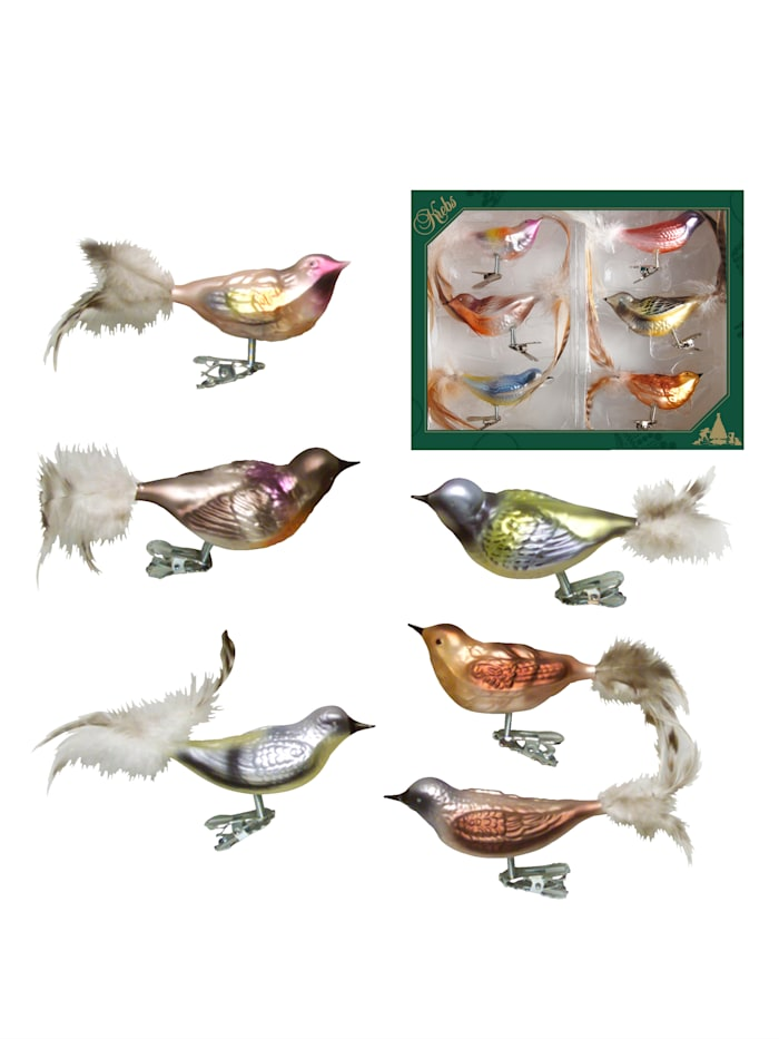 Krebs Glas Lauscha Wintervögel mit Clip, 6tlg., Mehrfarbig